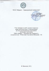 План усунення недоліків протипожежного обстеження гуртожитку